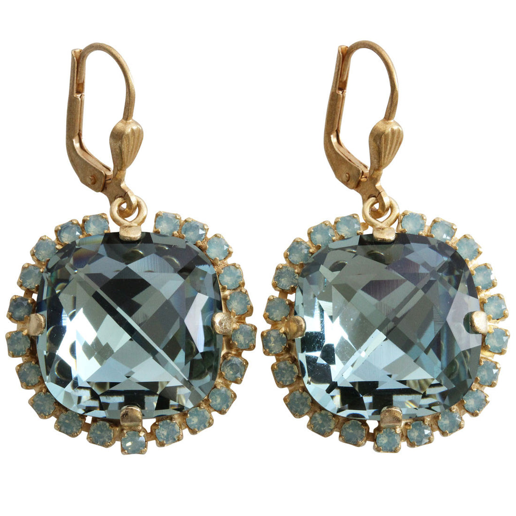 Catherine Popesco 14k Gold Plated Pillow Cut Crystal Border Large Earrings, 4295G Indian Sapphire