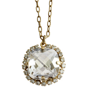 "Catherine Popesco 14k Gold Plated Pillow Cut Large Crystal Border Pendant Necklace, 18"" 4295GN Shade"