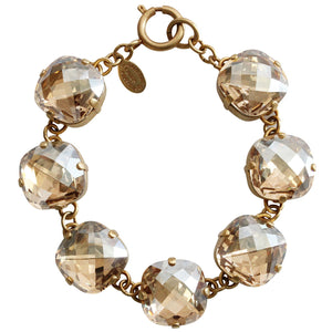 "Catherine Popesco 14k Gold Plated Pillow Cut Large Crystal Bracelet, 7.25"" 1697G Champagne"
