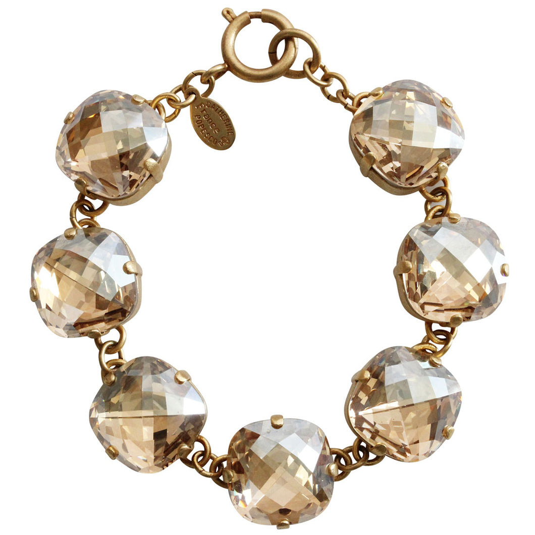 Catherine Popesco 14k Gold Plated Pillow Cut Large Crystal Bracelet, 7.25