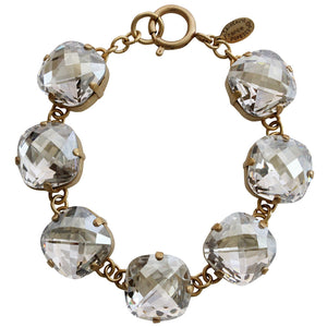 "Catherine Popesco 14k Gold Plated Pillow Cut Large Crystal Bracelet, 7.25"" 1697G Shade"
