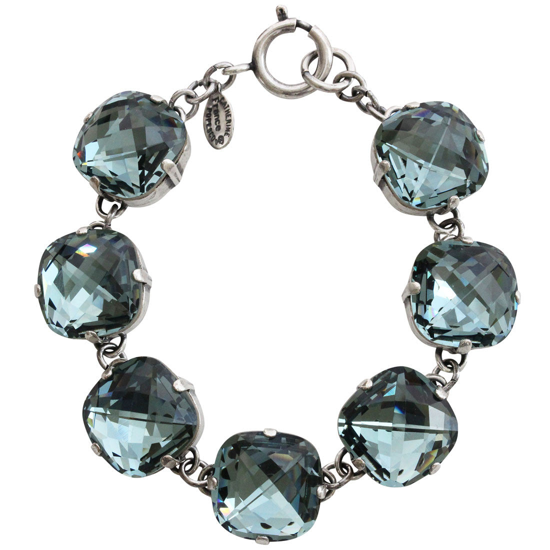 "Catherine Popesco Sterling Silver Plated Pillow Cut Large Crystal Bracelet, 7.25"" 1697 Indian Sapphire"