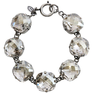 "Catherine Popesco Sterling Silver Plated Pillow Cut Large Crystal Bracelet, 7.25"" 1697 Shade"