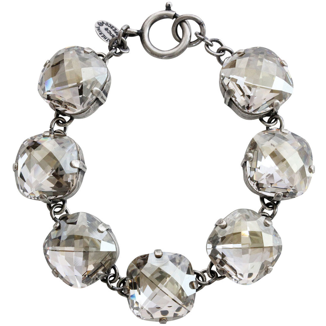 Catherine Popesco Sterling Silver Plated Pillow Cut Large Crystal Bracelet, 7.25