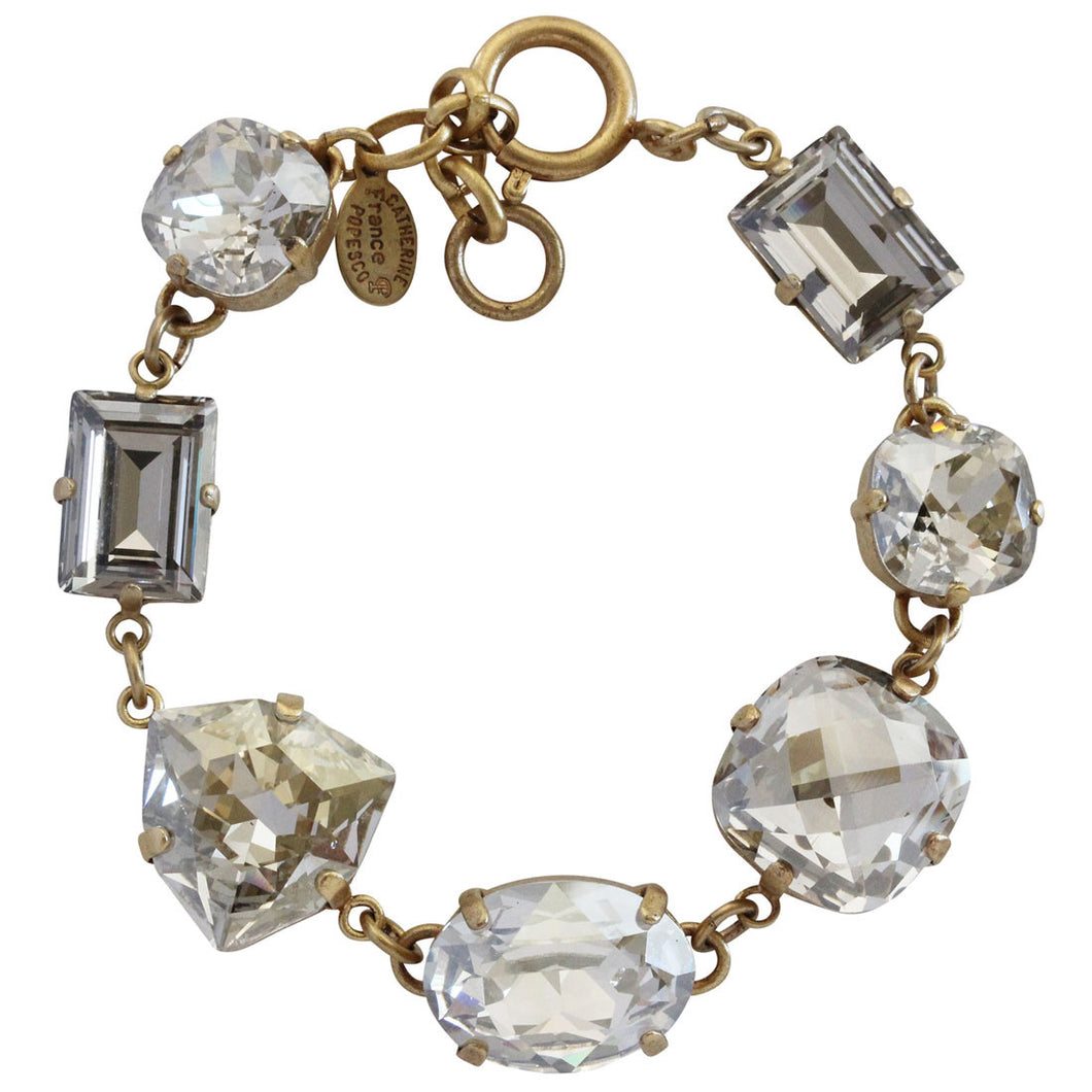 Catherine Popesco 14k Gold Plated Princess Multi Shape Swarovski Crystal Bracelet, 7-8