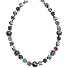 "Mariana Silver Plated Flower Shapes Swarovski Crystal Necklace, 16"" Purple Aqua 3044/1 153"