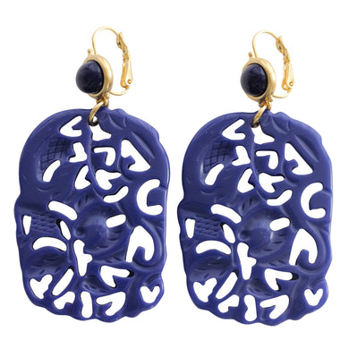 Kenneth Jay Lane Carved Statement Rectangular Faux Lapis Blue Pierced Earrings 5331ELL