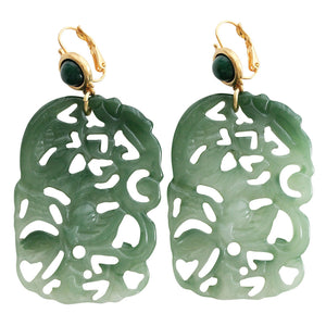 Kenneth Jay Lane Carved Statement Rectangular Faux Jade Green Pierced Earrings 5331EJJ
