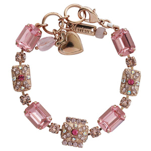 "Mariana ""Flamingo"" Rose Gold Plated Rectangle Art Deco Mosaic Swarovski Crystal Statement Bracelet, Pink Rose 4080/1 319rg"