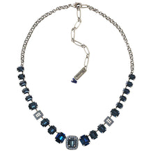 "Mariana Silver Plated Rectangular Baguette Swarovski Crystal Necklace, 21"" Mood Indigo 3040/8 1069"