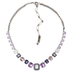 "Mariana Silver Plated Rectangular Baguette Swarovski Crystal Necklace, 21"" Purple Rain 3040/8 1062"