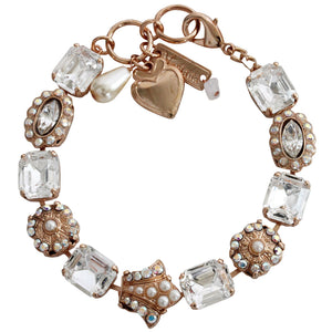 "Mariana Rose Gold Plated Rectangular Crown Swarovski Crystal Bracelet, 7.75"" Clear Crystal AB 4014 M48001rg"