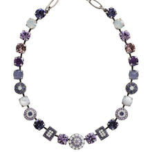 "Mariana Silver Plated Rectangular Moondust Swarovski Crystal Necklace, 19"" Purple Rain 3161 M1062"