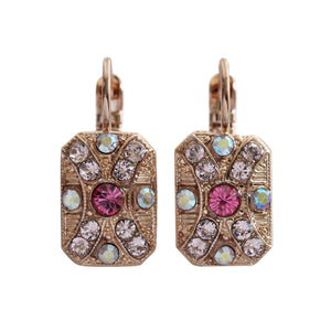 "Mariana ""Flamingo"" Rose Gold Plated Rectangle Art Deco Swarovski Crystal Earrings, 1080/2 319rg"