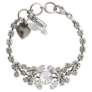 "Mariana ""On A Clear Day"" Silver Plated Rhinestone Cluster Statement Swarovski Crystal Bracelet, 7"" 4326/1 001001"