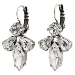 "Mariana ""On A Clear Day"" Silver Plated Cluster Marquis Rhinestone Statement Swarovski Crystal Earrings, 1030/4 001001"