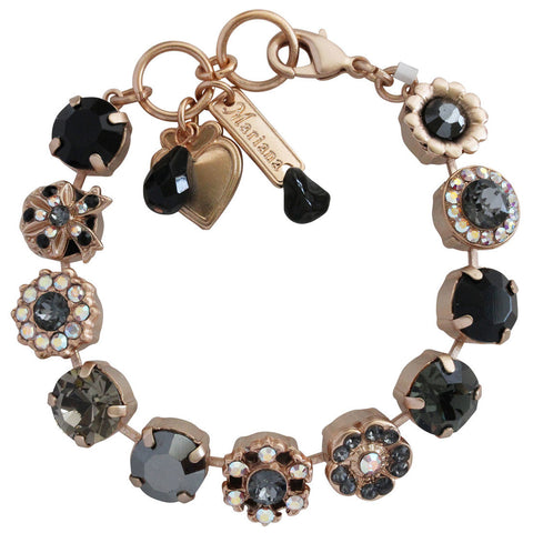Mariana Rose Gold Plated Large Ribbon Flower Shapes Swarovski Crystal Bracelet, 7