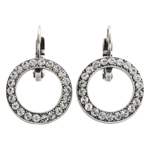 "Mariana ""On A Clear Day"" Silver Plated  Classic Round Ring Hoop Swarovski Crystal Earrings, 1427 001"