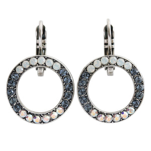 "Mariana ""Mood Indigo"" Silver Plated Classic Round Ring Circle Hoop Swarovski Crystal Earrings, 1427 1069"