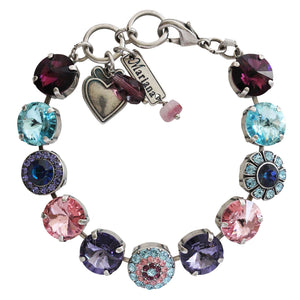 "Mariana ""Cotton Candy"" Silver Plated Rivoli Mosaic Swarovski Round Floral Large Statement Bracelet, 7.25"" Sweet Life 4247/1 144"