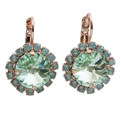 Mariana Rose Gold Plated Rivoli Cushion Statement Swarovski Crystal Earrings, Light Green 1137/1R 390238rg