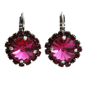 "Mariana ""Firefly"" Silver Plated Rivoli Cushion Statement Swarovski Crystal Earrings, Fuchsia Red 1137/1R 208502"