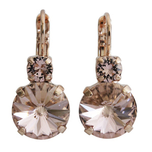 "Mariana ""Flamingo"" Rose Gold Plated Double Drop Rivoli Medium Crystal Earrings, Light Peach 1037R 319rg"