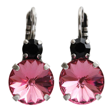 Mariana Silver Plated Double Drop Rivoli Round Swarovski Crystal Earrings, Pink Rose Jet Black 1037R 280209
