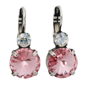 Mariana Pretty in Pink Silver Plated Drop Rivoli Round Statement Swarovski Crystal Earrings, 1037R MOL223