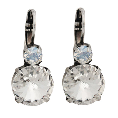 Mariana Moonlight Clear Silver Plated Double Drop Rivoli Round Swarovski Crystal Earrings, 1037R MOL001