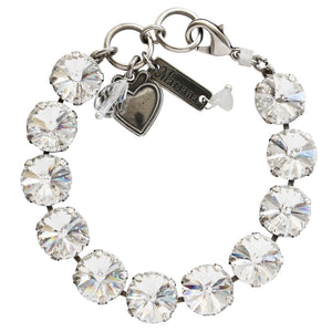 "Mariana Silver Plated Classic Large Shapes Rivoli Cut Swarovski Crystal Bracelet, 7"" On A Clear Day 4474R 001001"