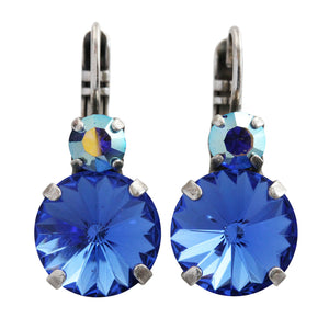 "Mariana ""Royal Blue"" Silver Plated Double Drop Rivoli Round Swarovski Crystal Earrings, 1037R 206"
