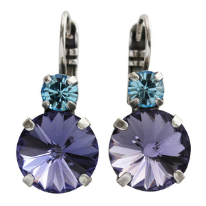 "Mariana ""Cotton Candy"" Silver Plated Double Drop Rivoli Round Swarovski Crystal Earrings, Purple Blue 1037R 144"