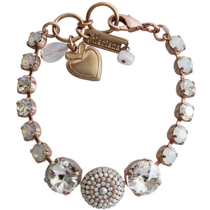 "Mariana Rose Gold Plated Statement Round Disc Swarovski Crystal Bracelet, 7"" Forever 4193 5087mr"