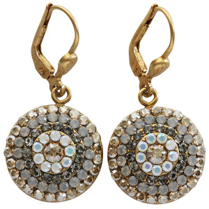 Catherine Popesco 14k Gold Plated Round Crystal Disc Earrings, 4148G Champagne Gray