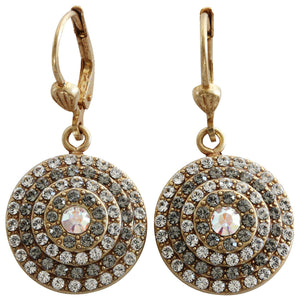 Catherine Popesco 14k Gold Plated Round Crystal Disc Earrings, 4148G Clear Grey AB