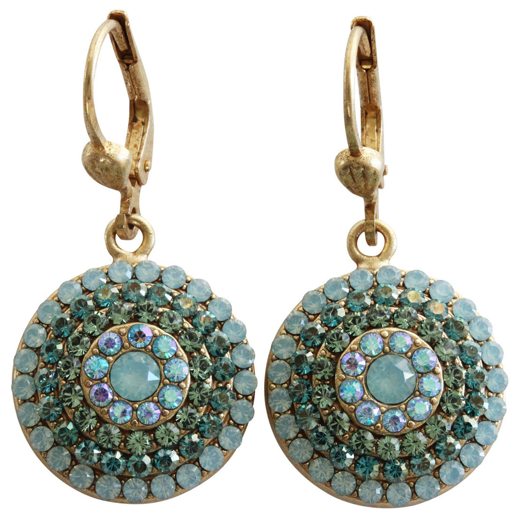 Catherine Popesco 14k Gold Plated Round Crystal Disc Earrings, 4148G Pacific Blue Teal