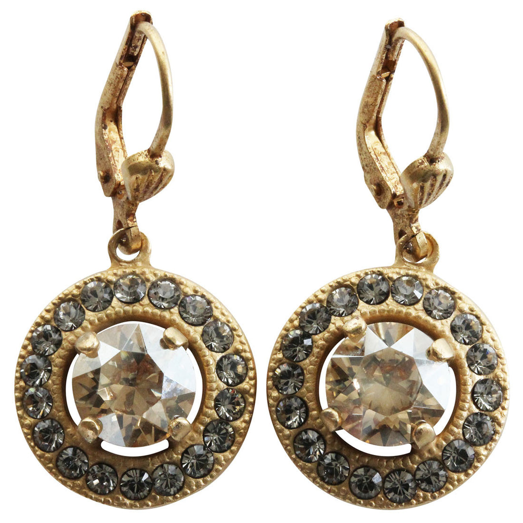 Catherine Popesco 14k Gold Plated Round Swarovski Crystal Earrings, 4680G Champagne