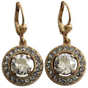 Catherine Popesco 14k Gold Plated Round Swarovski Crystal Earrings, 4680G Shade