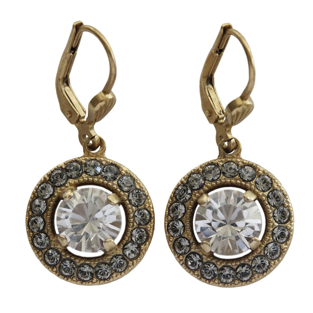 Catherine Popesco 14k Gold Plated Round Swarovski Crystal Earrings, 4680G Clear Gray