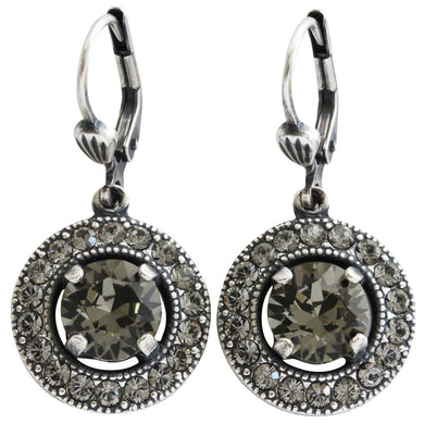 Catherine Popesco Sterling Silver Plated Round Crystal Border Earrings, 4680 Grey