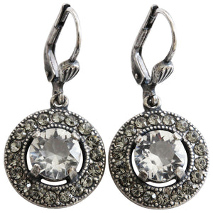 Catherine Popesco Sterling Silver Plated Round Crystal Border Earrings, 4680 Clear Grey