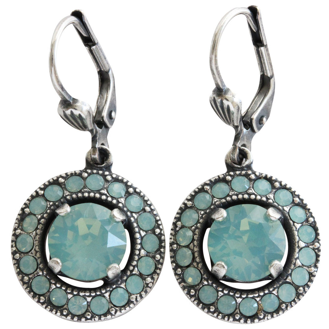 Catherine Popesco Sterling Silver Plated Round Crystal Border Earrings, 4680 Pacific Blue