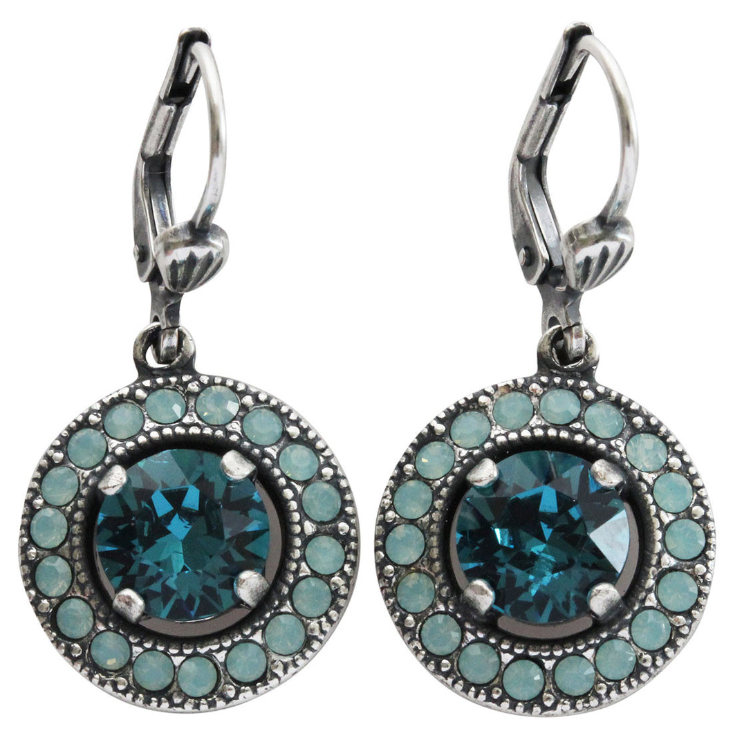 Catherine Popesco Sterling Silver Plated Round Crystal Border Earrings, 4680 Teal Pacific Blue