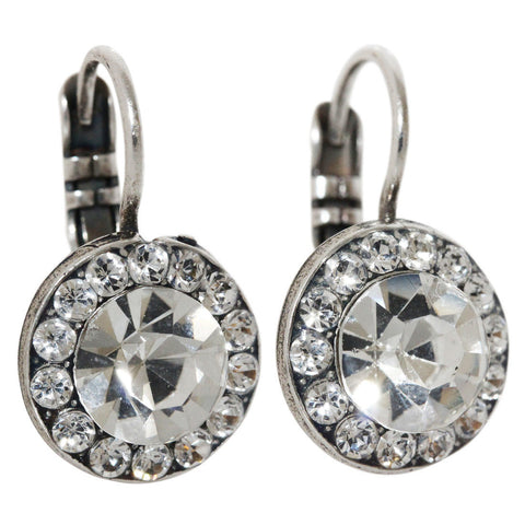 Mariana Silver Plated Round Disc Small Swarovski Crystal Earrings, On A Clear Day 1129 001001