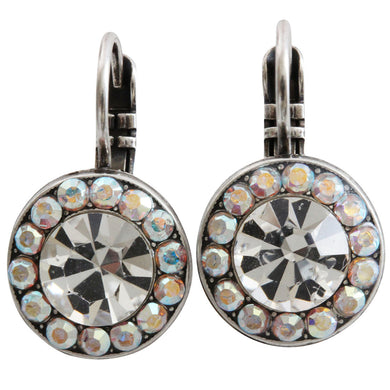 Mariana Silver Plated Round Disc Small Swarovski Crystal Earrings, Crystal AB 1129 001