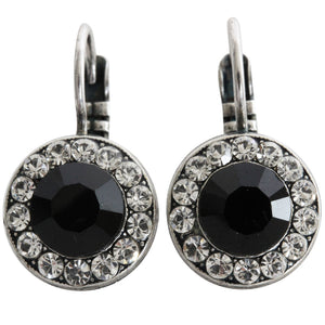 Mariana Silver Plated Round Disc Small Swarovski Crystal Earrings, Checkmate 1129 280-1