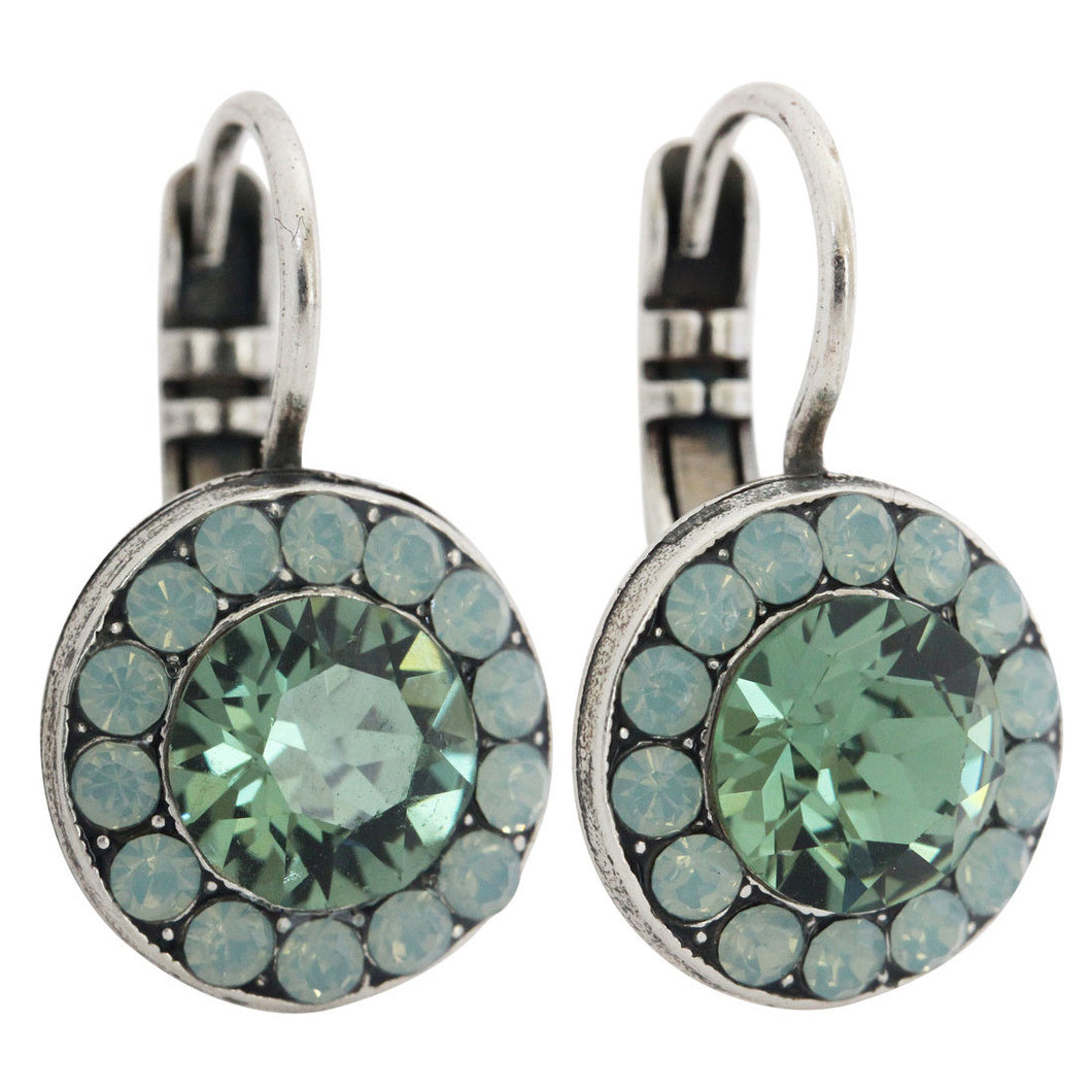 Mariana Congo Silver Plated Round Disc Small Swarovski Crystal Earrings, 1129 1076