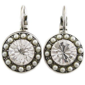 Mariana Silver Plated Round Disc Small Swarovski Crystal Earrings, Crystal Pearls 1129 M48001