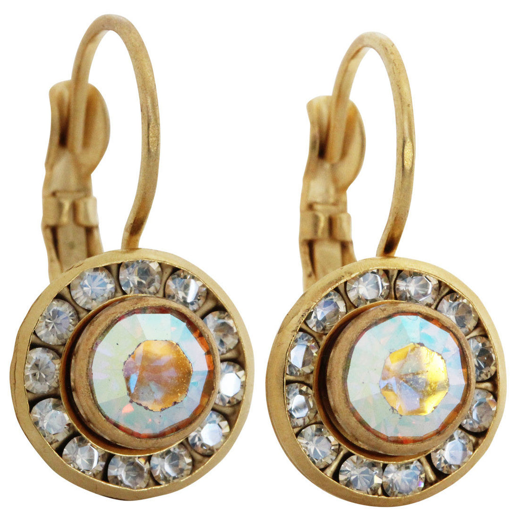 Liz Palacios 14k Gold Plated Small Round Disc Swarovski Crystal Earrings, BSE-6 Moonlight AB
